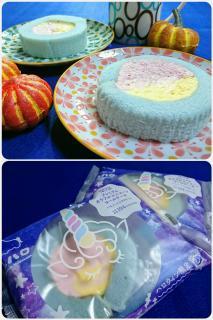ユニコーンカラーのロールケーキ画像